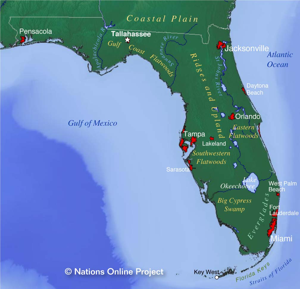 Relive your childhood at orlando's theme parks, soak up the. Map Of Florida State Usa Nations Online Project