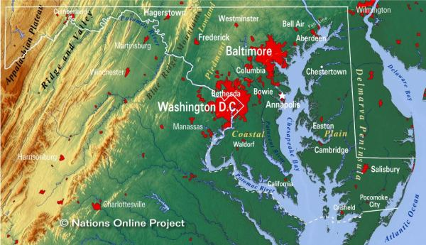 Reference Maps of Maryland USA Nations Online Project