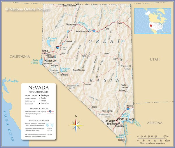 Reference Maps of Nevada USA Nations Online Project