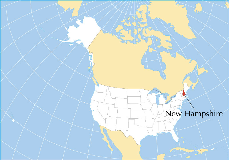 It is bordered by massachusetts to the south, vermont to the west, maine and the atlantic ocean to the east, and the canadian province of quebec to the north. Map Of New Hampshire State Usa Nations Online Project
