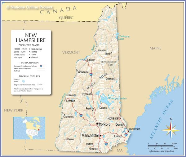 Reference Maps of New Hampshire USA Nations Online Project
