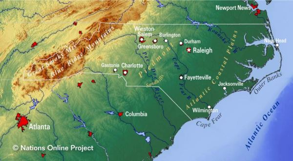 Reference Maps of North Carolina USA Nations Online Project