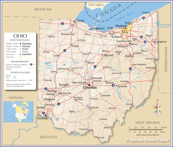 Reference Maps of Ohio USA Nations Online Project