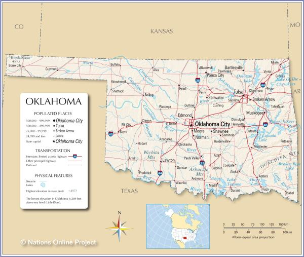 Reference Maps of Oklahoma USA Nations Online Project