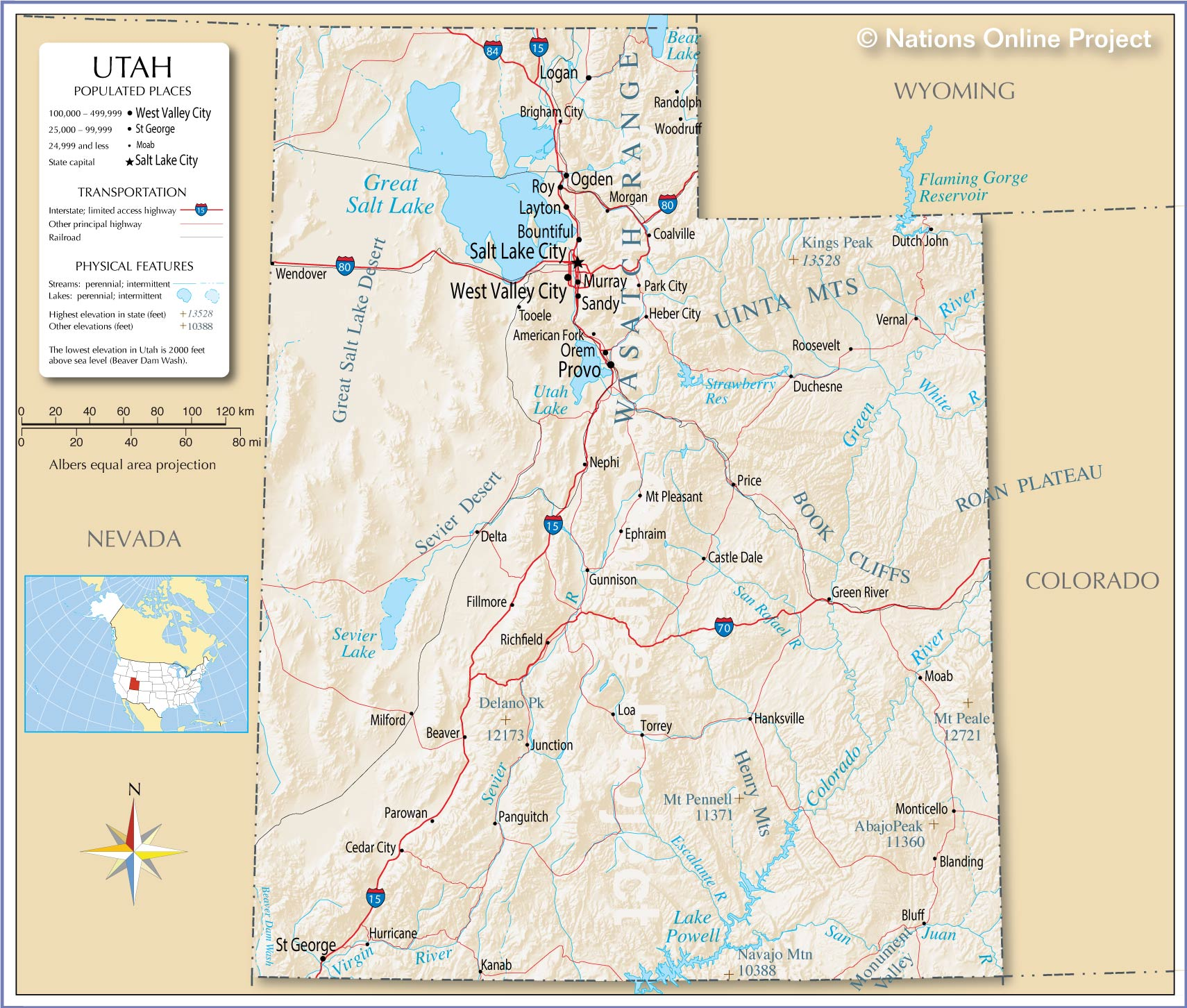 Map Of The State Of Utah Usa