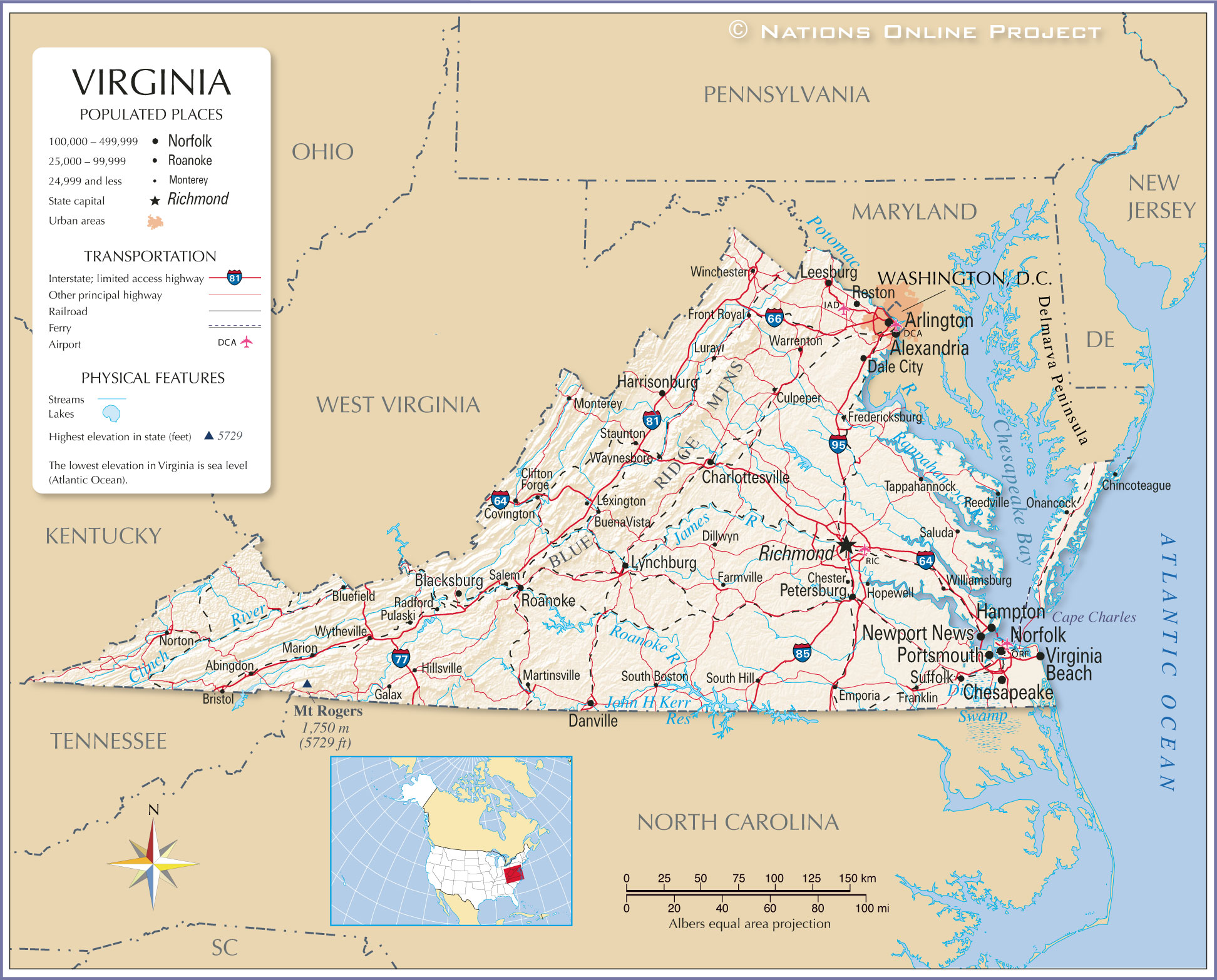 Reference Maps Of Virginia Usa