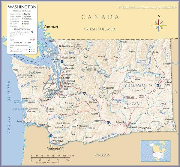 Reference Maps of State of Washington USA Nations