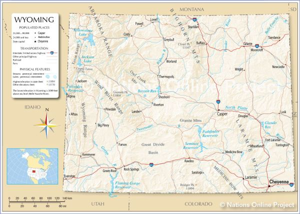 Reference Maps of Wyoming USA Nations Online Project