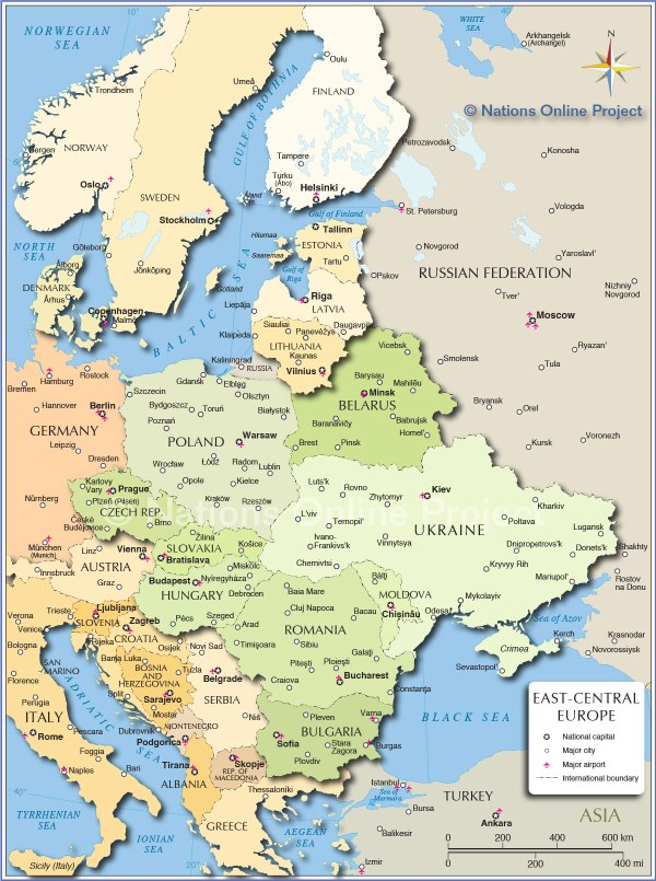 Political Map of Central and Eastern Europe Nations Online Project
