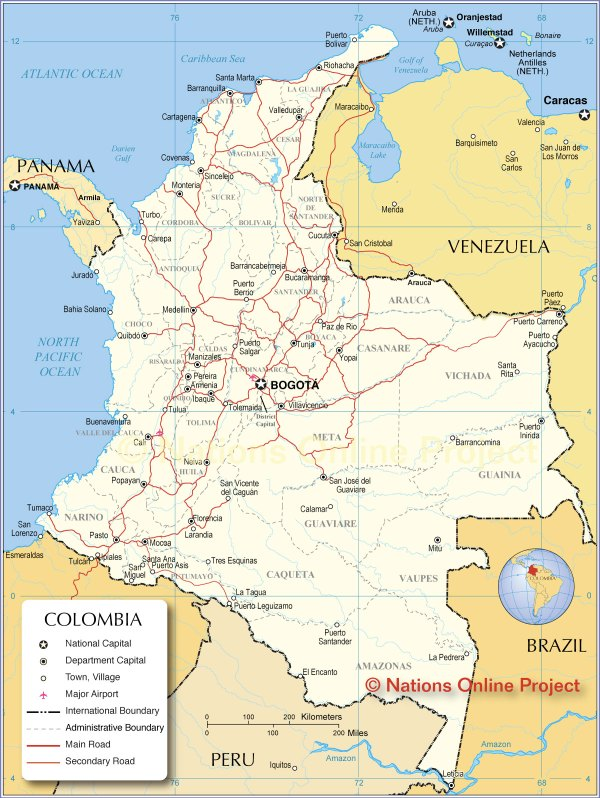 Map of Colombia Nations Online Project