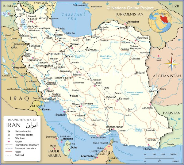 Political Map of Iran Nations Online Project