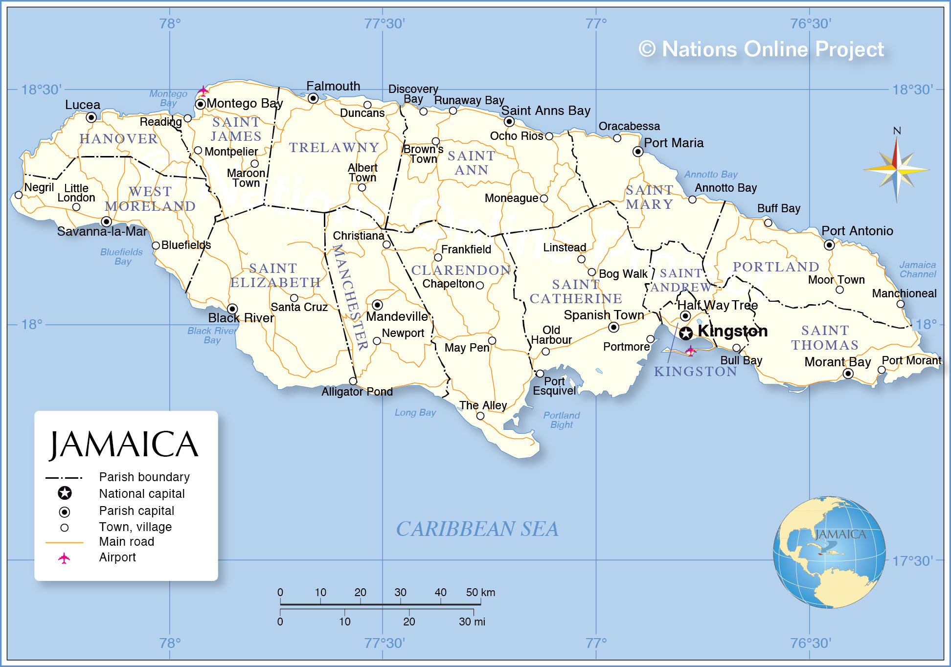 14 Parishes Jamaica And Their Capitals
