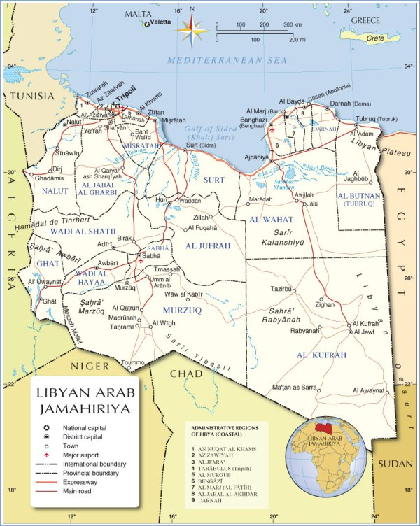 Administrative Map of Libya Nations Online Project