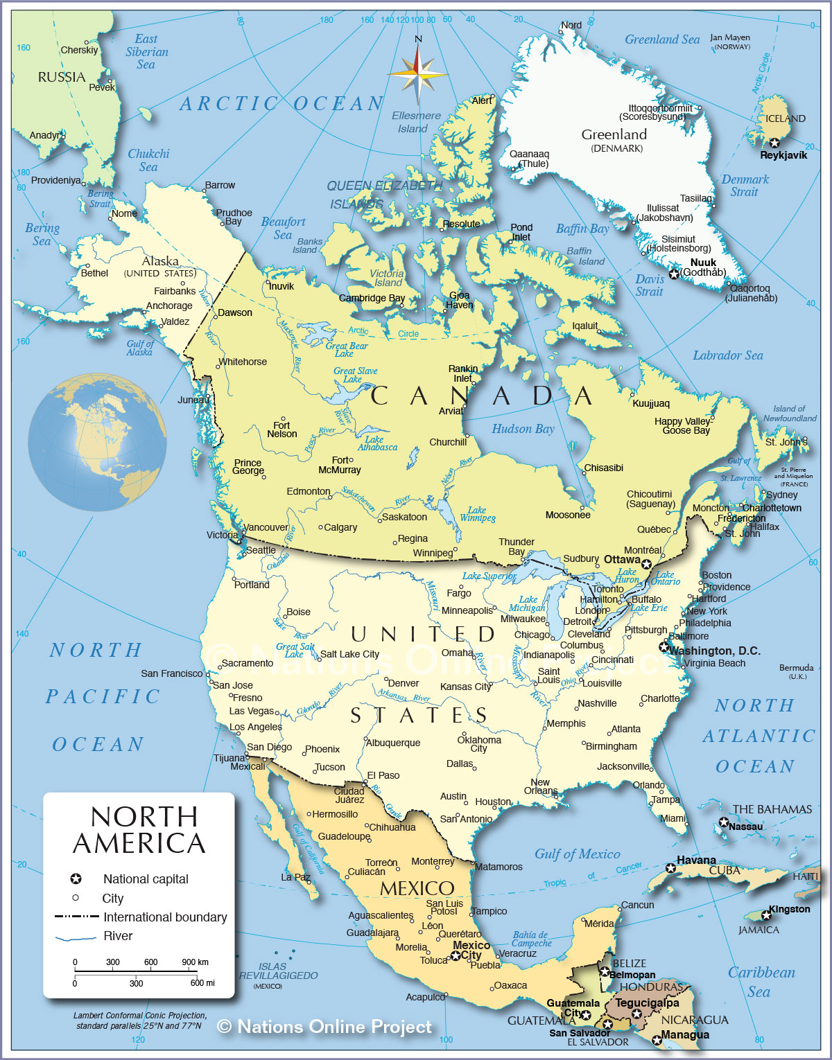 Political Map Of North America Px