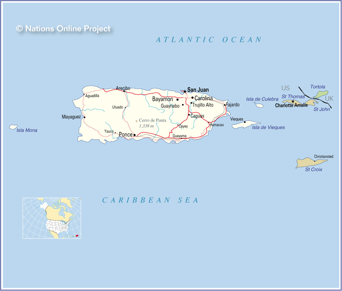 Map Of Us Virgin Islands And Puerto Rico
