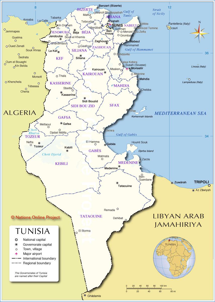 carte administrative de la Tunisie