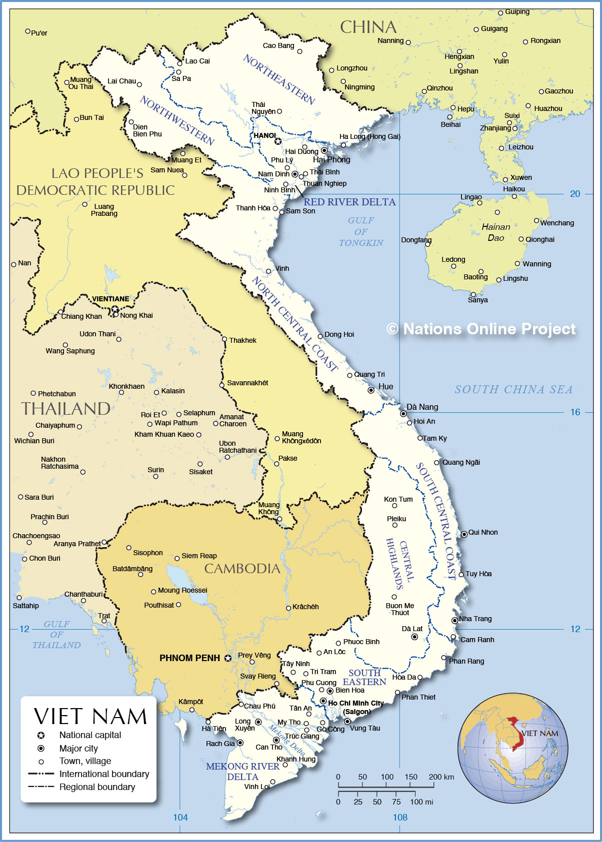 Region Map Of Vietnam