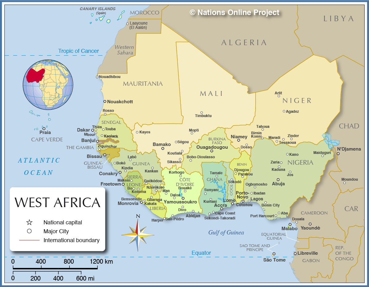 Biological health hazard fatal lassa hemorrhagic fever lhf political west africa map map is showing the countries of the western part of africa with international borders the national capitals and the largest ccuart Gallery