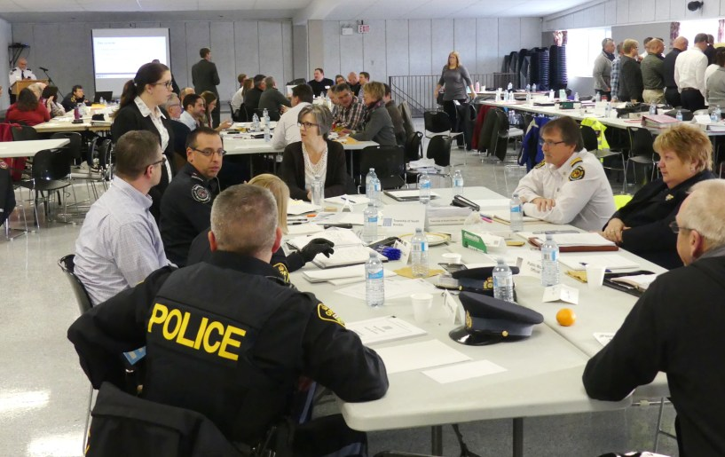 This group from the Municipality of South Dundas strategized around their table, as part of the exercise. Zandbergen photo, Nation Valley News