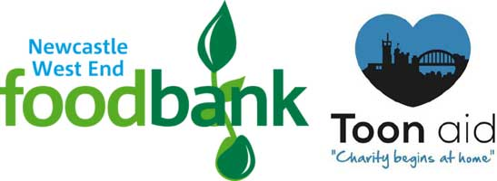 Newcastle West End Foodbank & Toon Aid logos
