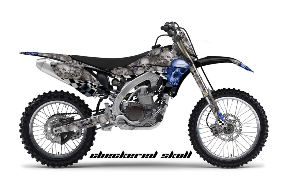 Yamaha YZ450 F 4 Stroke Dirt Bike GraphicsCheckered Skull