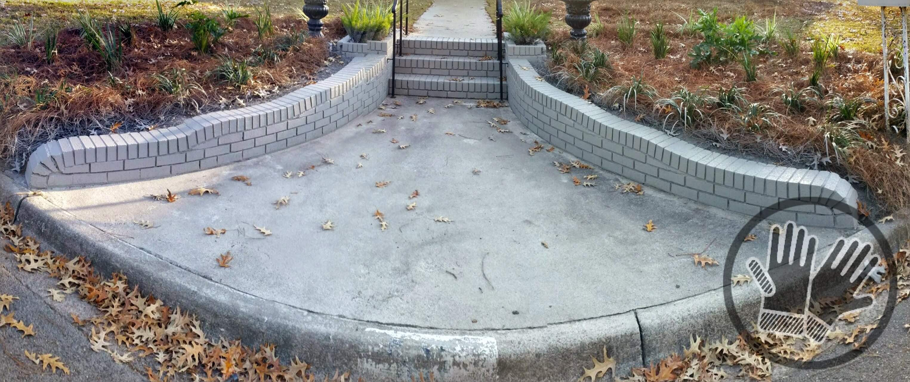 Brick Retaining Wall And Steps Painted With Behr Elephant