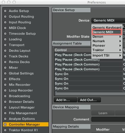 preferences controller manager device