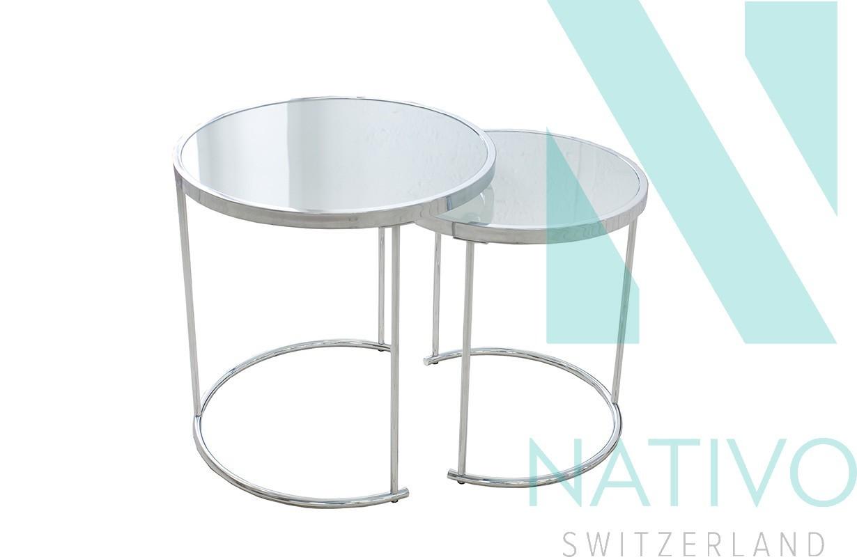 Designer Couchtisch MOON SILVER 2er SET bei NATIVO Schweiz