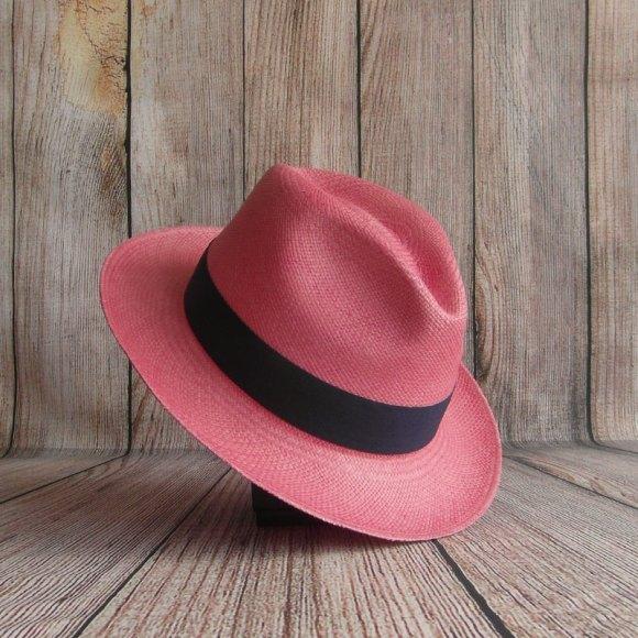 Chapeau Panama rose saumon