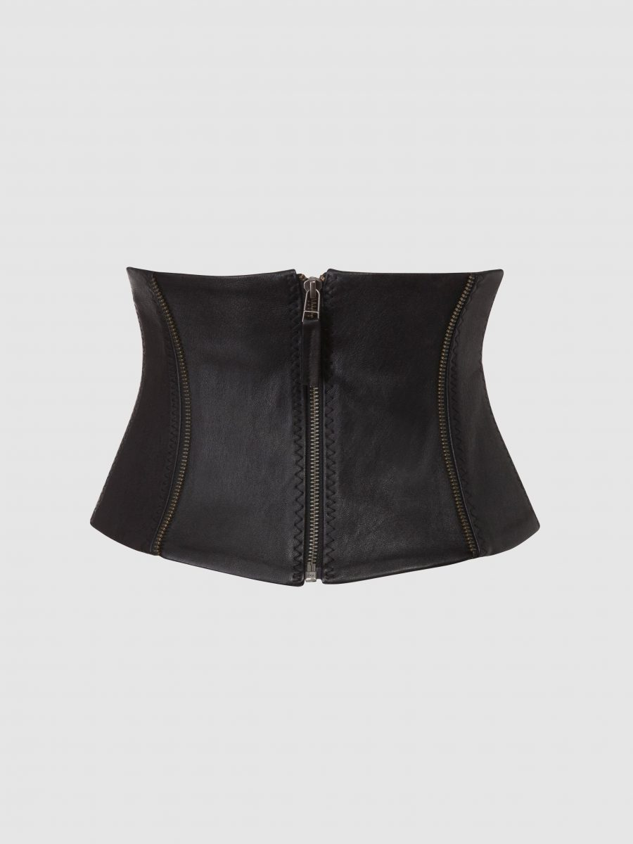 stretch leather corset belt