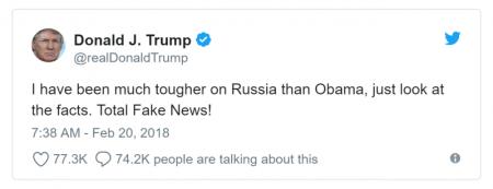 Trump Tweet Im tougher on Russia than Obama