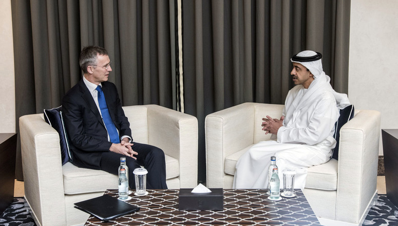 NATO Secretary General Jens Stoltenberg and the Minister of Foreign Affairs and Cooperation of the UAE, HH Sheikh Abullah bin Zayed al-Nayan
