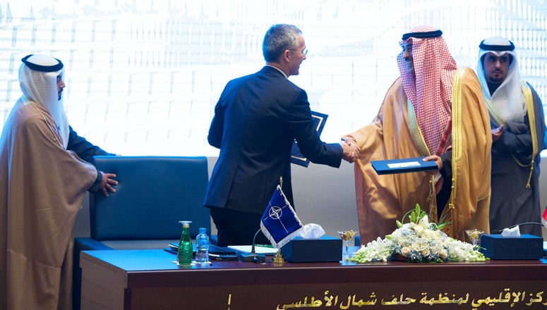 First Deputy Prime Minister and Minister of Foreign Affairs, His Excellency Sheikh Sabah Khaled Al-Sabah and NATO Secretary General Jens Stoltenberg sign the Agreement between NATO and Kuwait regarding Establishment, Mandate and Operation of the NATO ICI Regional Centre