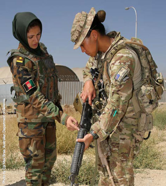 Empowering women: an Afghan officer trains<br /><br /><br /><br /><br /><br /><br />         with an Australian mentor in Kabul.