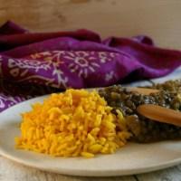 Dahl Indiano e basmati alla curcuma per l'Abbecedario Culinario Mondiale