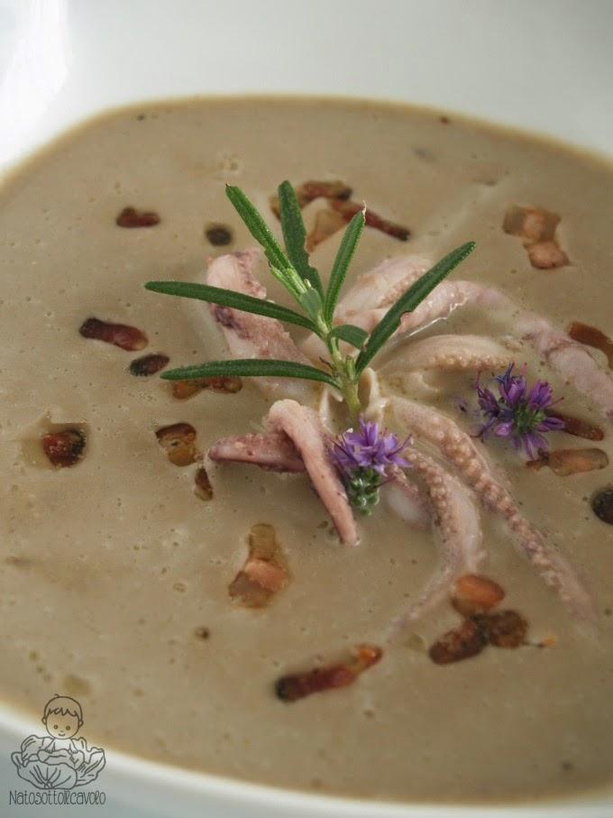 Crema di lenticchie, calamari e rosmarino