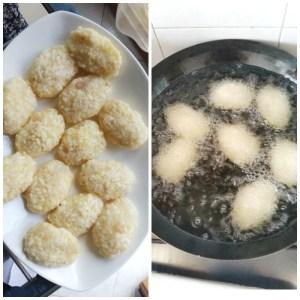 Frittelle di riso e pesce bianco crude e cotte