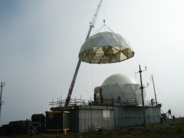 Old dome is removed at Fitful Head - the outer is being removed after building the inner