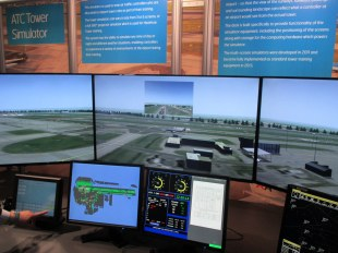 Air Traffic Control Simulator also showing incoming pilot's view
