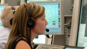 Kathryn Parker, NATS air traffic controller, managing the flight from the control centre in Swanwick.