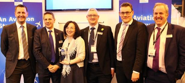 L-R Mark Cooper (Lockheed Martin), Jonathan Astill (NATS), Janet Singhal (NATS, Charles Morris (NATS), Mark Burgess (Heathrow Airport) and Andy Shand (NATS)