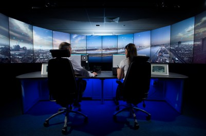 The digital tower control room for London City Airport.