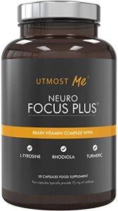 Vitamines pour le cerveau, supplément naturel nootropique – Mélange concentration & mémoire | Améliore l'activité des ondes cérébrales alpha | Booster cognitif – Caféine & L-Théanine | Neuro Focus PLUS (TM)