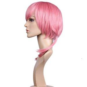 Li & HI court cheveux perruque rose court des deux côtés avec tresse perruque Anime Cosplay