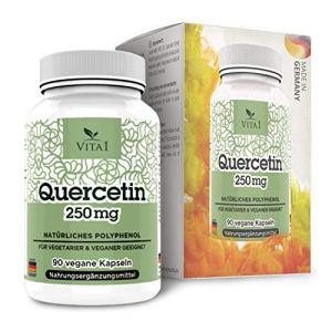 VITA1 Quercetin 250mg • 90 capsules (alimentation pour 3 mois) • Riche en flavonoide pour la Santé Général • Sans gluten, végétalien, kosher et halal • Fabriqué en Allemagne