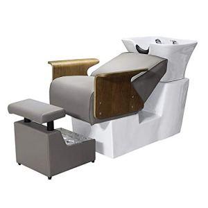 DNNAL Chaise de shampooing, Bassin en céramique Shampooing Unité de Lavage à Contre-Courant de lit Shampooing pour Bol Coiffure évier Chaise pour équipement de Salon de beauté Spa
