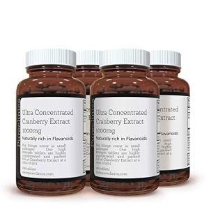 EXTRAIT DE CANNEBERGE ULTRA CONCENTRÉ 1000 mg x 720 COMPRIMÉS (4 bouteilles de 180 comprimés – 2 ANS DE STOCK !) SKU: CRAN3x4