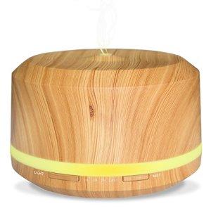 450ML Diffuseur Aromathérapie de Grande Capacité, Diffuseur d Huile Essentiel de Grain de Bois avec 4 réglages de minuterie et 8 lumières LED de couleur