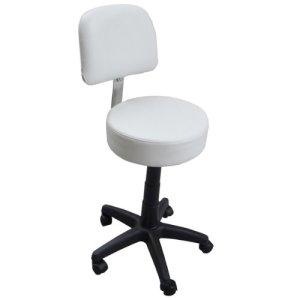Eyepower Tabouret de Travail MST-405 chaise pivotante 360° réglable en hauteur siège rembourré avec roulettes dossier   poids supporté 120 kg   idéal pour coiffeur esthéticien cabinet médical   blanc