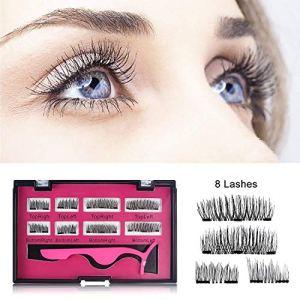 Magnétique Faux Cils,Lypumso double aimants 3D aimant cils ensemble, cils magnétiques Full Eye magnétique faux cils ultra mince pour le maquillage naturel de femmes 2 Paires / 8 Pièces (Noir)